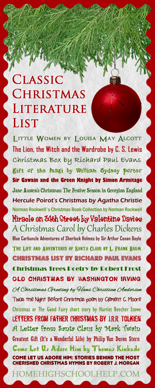 Classic Christmas Literature List #Homeschool  @TheHomeScholar
